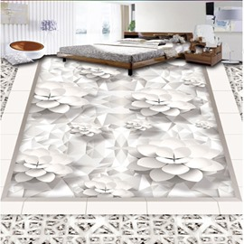 White Flowers Printings European Style Nonslip and Waterproof 3D Floor Murals