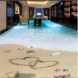 Heart Prints on the Sandbeach 3D Waterproof Floor Murals