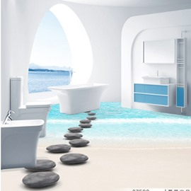 Fresh Simple Style Pebbles Path on the Seaside Pattern Waterproof 3D Floor Murals
