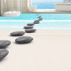 Fresh Simple Style Pebbles Path on Seaside Pattern Waterproof 3D Floor Murals