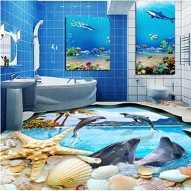 Decorative Jumping Dolphins and Seashells Pattern Waterproof 3D Floor Murals