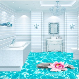 Blue Shining Sea Print Home Decorative Nonslip and Waterproof 3D Floor Murals