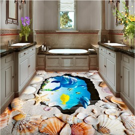 Amazing Dolphins and Seashells Print Waterproof Splicing 3D Floor Murals