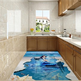 Incredible Elegant Mermaid in the Sea Print Nonslip and Waterproof 3D Floor Murals