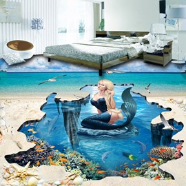 Sexy and Beautiful Mermaid in the Sea Pattern Home Decorative Nonslip 3D Floor Murals