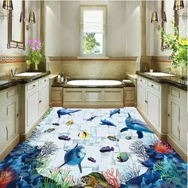 Fancy Modern Dolphins and Fishes Pattern Design Home Decorative Waterproof 3D Floor Murals