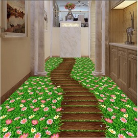 Colorful Path Through the Flower Field Print Waterproof Splicing 3D Floor Murals