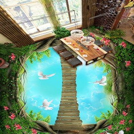 Fancy Wooden Ladder Through the Tree Pattern Nonslip and Waterproof 3D Floor Murals