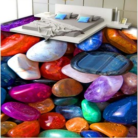 Fancy Colorful Pebbles Print Home Decorative Waterproof 3D Floor Murals