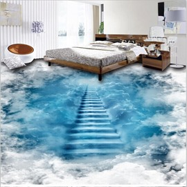 Unique Design Staircase to the Clouds Print Waterproof Decorative 3D Floor Murals