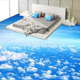 Blue Sky and White Cloud Pattern Nonslip and Waterproof 3D Floor Murals