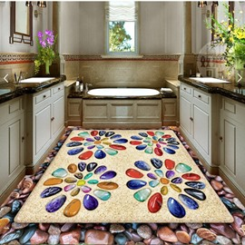 Colorful Pebbles Flower Pattern Decorative Waterproof Splicing 3D Floor Murals
