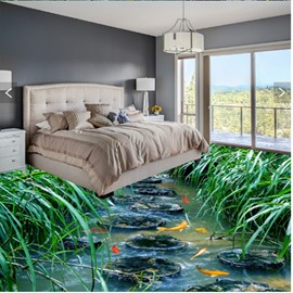 Natural Stone Path and Fishes in the Pond Print Waterproof 3D Floor Murals