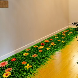 Natural Beautiful Flower in the Grass Print 3D Floor Stickers
