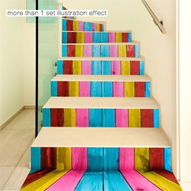 Colorful Bars 6-Piece 3D PVC Waterproof Stair Mural