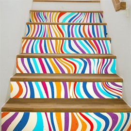 Colorful Curved Lines 6-Piece 3D PVC Waterproof Stair Mural