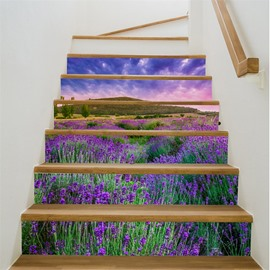 Purple Sky and Lavender 6-Piece 3D PVC Waterproof Stair Murals