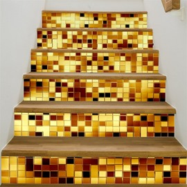 Golden Plaids Home Decorative 6-Piece 3D PVC Waterproof Stair Mural