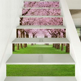 Green Grass and Pink Flowers Pattern 6-Piece 3D PVC Waterproof Stair Mural