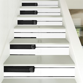 Black and White Piano Keys 6-Piece 3D PVC Waterproof Stair Mural