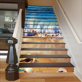 Shells and Starfishes on The Beach 3D Waterproof Stair Murals