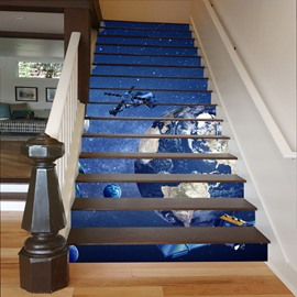 Spacecraft Flying in Blue Star Sky 3D Waterproof Stair Murals