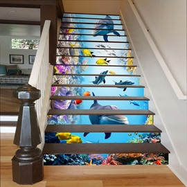 Fishes and Dolphins Swimming in Deep Sea 3D Waterproof Stair Murals