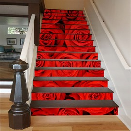 Red Roses 3D Waterproof DIY Stair/Wall Murals