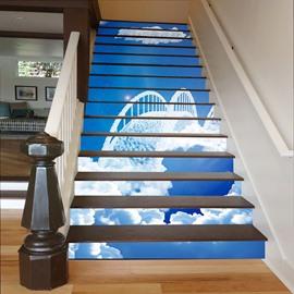 White Cloud Bridge in Blue Sky 3D Waterproof Stair Murals