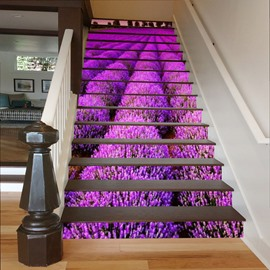 Purple Lavenders 3D Waterproof DIY Stair Murals