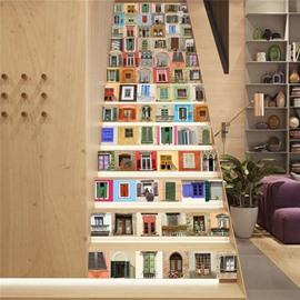 Diverse Windows and Doors 13-Piece PVC 3D Waterproof Stair Murals