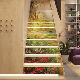 Garden and Castle 13-Piece PVC 3D Waterproof Stair Murals