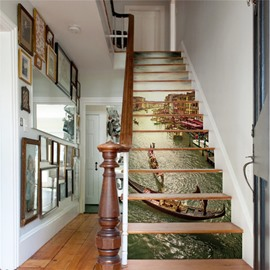 Water-town and Sunshine 13-Piece PVC 3D Waterproof Stair Murals
