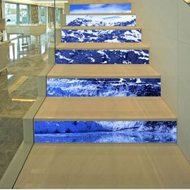 3D Blue Lake Snow Mountain 6-Piece PVC Waterproof Eco-friendly Self-Adhesive Stair Mural