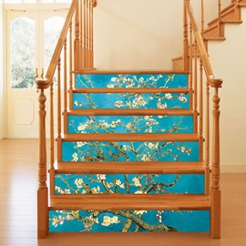 3D Floral Tree 6-Piece PVC Waterproof Eco-friendly Self-Adhesive Stair Mural