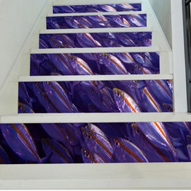 3D Purple Fishes 6-Piece PVC Waterproof Eco-friendly Self-Adhesive Stair Mural