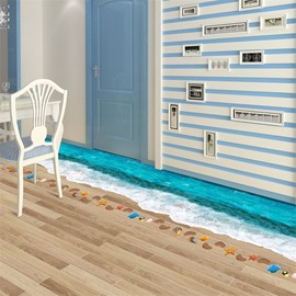 3D Blue Beach Printed PVC Waterproof Eco-friendly Floor Stickers