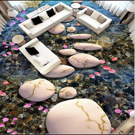 3D Petals Stones in Lake Pattern Waterproof Nonslip Self-Adhesive Floor Art Murals