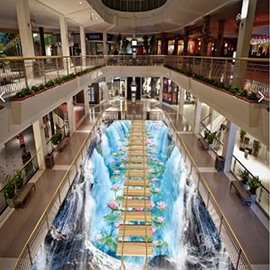 3D Waterfall Wooden Suspension Bridge Pattern Waterproof Nonslip Self-Adhesive Blue Floor Art Murals