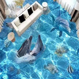 3D Dolphins Play In The Water Pattern Waterproof Nonslip Self-Adhesive Blue Floor Art Murals