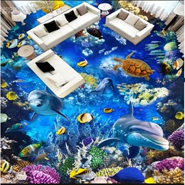 3D Deep Ocean Dolphins and Fishes Pattern Waterproof Nonslip Self-Adhesive Blue Floor Art Murals