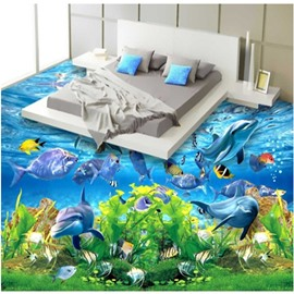 3D Aquatic Dolphins and Turtle Pattern Waterproof Nonslip Self-Adhesive Blue Floor Art Murals