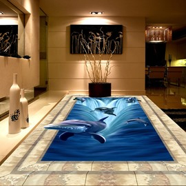 3D Ocean Jumping Dolphins Pattern Waterproof Nonslip Self-Adhesive Blue Floor Art Murals