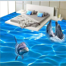 3D Ocean Three Dolphin Out OPf Water Pattern Waterproof Nonslip Self-Adhesive Blue Floor Art Murals