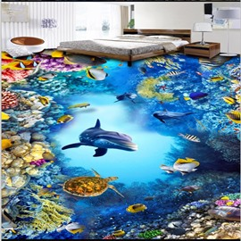 3D Deep Sea Dolphin and Colorful Coral Pattern Waterproof Nonslip Self-Adhesive Blue Floor Art Murals