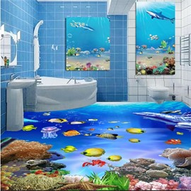 3D Ocean Dolphins and Marine Life Pattern Waterproof Nonslip Self-Adhesive Blue Floor Art Murals