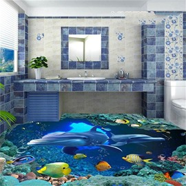 3D Green Coral Two Dolphins and Fishing Pattern Waterproof Nonslip Self-Adhesive Blue Floor Art Murals