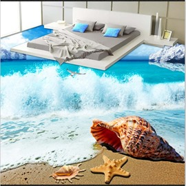 3D High Tide of Sea and Conch Water Pattern Waterproof Nonslip Self-Adhesive Blue Floor Art Murals