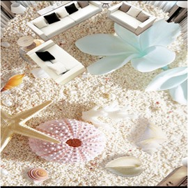 3D Orchid and Sea Shell Pattern Waterproof Nonslip Self-Adhesive Floor Art Murals