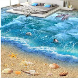 3D Jumping Dolphin and Sea shell Pattern Waterproof Nonslip Self-Adhesive Blue Floor Art Murals